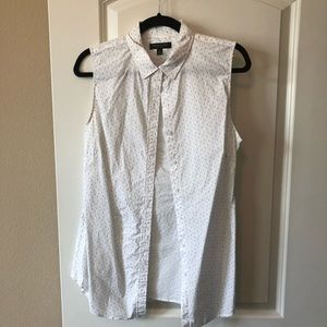 Blue and white button up tank banana republic